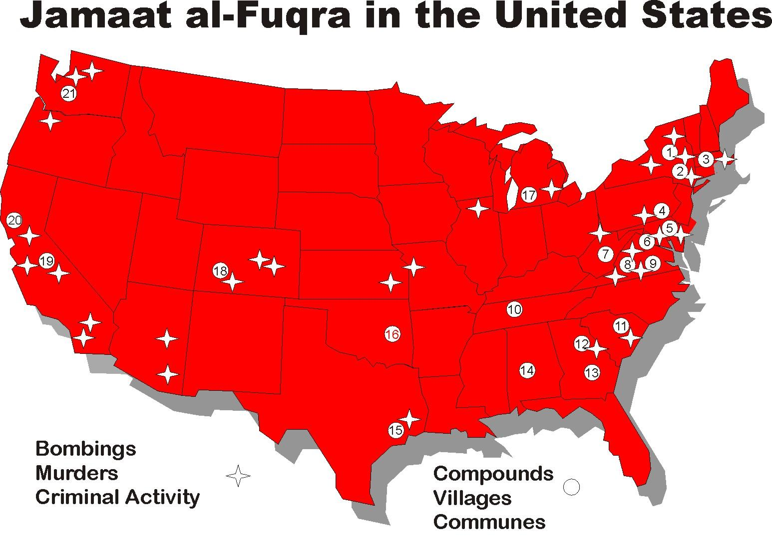 Map Terrorist Training Camps in the USA Battlefield America